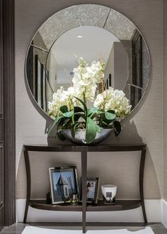 Beautiful Entry Table Decor Ideas to give some inspiration on updating your . Beautiful Entry Table Decor Ideas to give some inspiration on updating your house or adding fre Rustic Wall Mirrors, Hallway Sconces, Home Decor Mirrors, Small Hallways, Foyer Decorating, Contemporary Home Decor, Contemporary Building, Contemporary Stairs, Contemporary Wallpaper