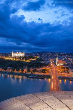 Bratislava at night Great Places, Places To See, Bratislava Slovakia, Heart Of Europe, Danube River, Seen, European Vacation, Central Europe, Beautiful Landscapes