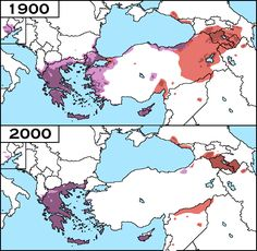 """historical-nonfiction: """" The distribution of Armenians (in red) and Greeks (in purple), in 1900 CE and in 2000 CE. The mass movement of populations were the result of the Greek Genocide and Armenian. Armenian History, Old World Maps, Alternate History, Ottoman Empire, Historical Maps, World History, Greeks, Eastern Europe, Ancient Mesopotamia"""