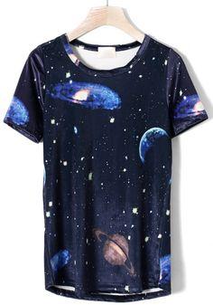 Multicolor Galaxy Planet Print Short Sleeve Acrylic T-shirt