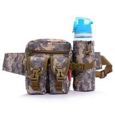 Camouflage Sports Waist Pack with Water Bottle Holder