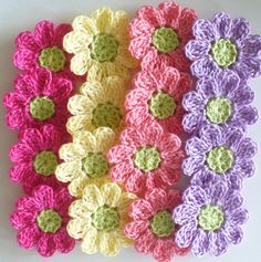 Crochet Flower Appliques - set of 16, wasabi green, hot pink, coral, wood violet, maize