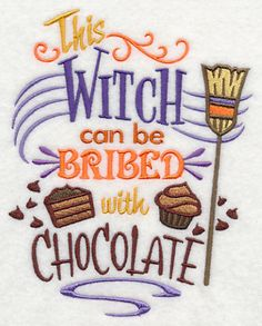 This Witch Can Be Bribed with Chocolate machine embroidered White Cotton Halloween Kitchen Tea Towel by StitchnJEmbroidery on Etsy