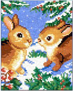 Snowbunnys Christmas Charts, Painting Templates, Create A Board, Erdem, Bunny Rabbit, Goblin, Needlepoint, Cross Stitch, Embroidery