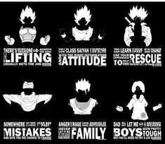 Edit: Super boredom hit me again and I added Videl, Gohan and Future Trunks. I got bored and started with Vegeta; then eventually did Goku whilst watchi. Dragonball Z - Motivational Typography Dragon Ball Z Shirt, Dragon Ball Gt, Dbz Quotes, Motto Quotes, Epic Quotes, Awesome Quotes, Motivation Quotes, Fitness Motivation, Fitness Workouts