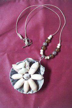 Hemp rope oliver flower shell necklace ooak by regiooaksartist, $20.00 Free pair of matching earrings.
