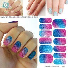 Slider desain untuk kuku nail art stiker air decals perekat foil Patch untuk manicure Warna Gradien Gemerlapnya dekorasi kuku