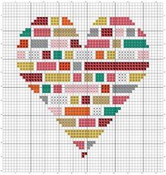 Heart Full of Colour Beginner Cross-stitch Instant PDF Wedding Cross Stitch Patterns, Modern Cross Stitch Patterns, Crochet Stitches Patterns, Loom Patterns, Cross Stitch Designs, Cross Stitch Needles, Cross Stitch Heart, Beaded Cross Stitch, Counted Cross Stitch Patterns