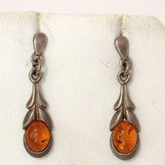 Amber 925 Sterling Silver Pierced Drop Earrings GW15 219 | eBay