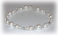 Pearl Bridal Anklet Swarovski Crystal Accessories Jewelry Wedding Brides Ankle Bracelet Pearls Crystals White or Ivory