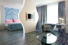 Karim Rashid - berlin hotel - i like the layout more than anything else - its very him - the rest of the hotel is cartoony bold - as is his standard