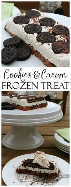 This no bake Oreo cookie frozen dessert recipe will be the hit of the party!! It's creamy just like an ice cream cake but without the melting mess! The prefect summer dessert recipe for parties and BBQs. #oreocookierecipe #summerrecipes #dessertrecipes #nobake