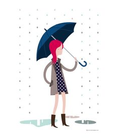 Girl with umbrella and polka dots Navy blue dress by VeronicaGrech