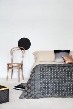 Kantha Quilt via Fossik   Copper + Black + Bedroom + Bentwood