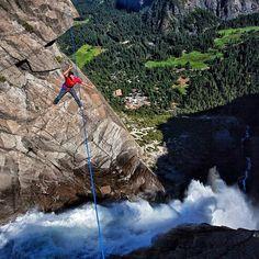 jimmy_chin  @deanpotter walking the talk above Yosemite Falls. Yosemite National Park, CA.