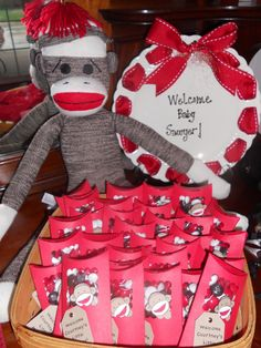 cute mommy badge for my sock monkey baby shower kids