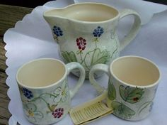 Vintage Laura Ashley 1993 Hand Painted Pitcher and Mugs England