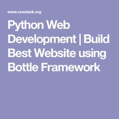 Python Web Development | Build Best Website using Bottle Framework