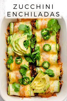 Zucchini Enchiladas - Swap the tortillas for thinly sliced zucchini, and try th. - Zucchini Enchiladas – Swap the tortillas for thinly sliced zucchini, and try this low carb keto f - Low Carb Keto, Low Carb Recipes, Healthy Recipes, Steak Recipes, Turkey Recipes, Copycat Recipes, Rice Recipes, Delicious Recipes, Pasta Recipes
