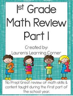 It is important to review as the year progresses and not just at the end! This packet contains review pages for first grade math. It covers skills in all four areas of first grade math according to the CCLS including: Operations and Algebraic Thinking, Numbers and Operations in Base Ten, Measurement and Data, and Geometry that have been taught in the first part of the school year.