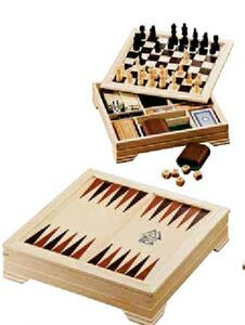 Lifestyle 7-in-1 Desktop Game Set Set includes game boards (on both sides of the lid) and game pieces for checkers, chess and backgammon, 28 dominoes, cribbage board and pegs, a standard deck of cards, four dice, and an instruction booklet. All components store neatly in wooden case. Leed's products are not designed for use by, or intended for children ages 12 and under