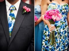 floral bridal party- maid of honor and best man Wedding Trends, Wedding Styles, Wedding Ideas, Bridesmaid Dresses Floral Print, Floral Dresses, Bride Wedding Speech, Floral Frocks, Always A Bridesmaid, Bridesmaids And Groomsmen