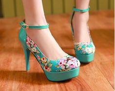 2015 women new fashion decorative pattern buckle ultra thin high heels pumps buckle flower print shoes plus size Cute High Heels, Platform High Heels, High Heel Pumps, Pump Shoes, Stiletto Heels, Shoes Heels, Fancy Shoes, Pretty Shoes, Crazy Shoes