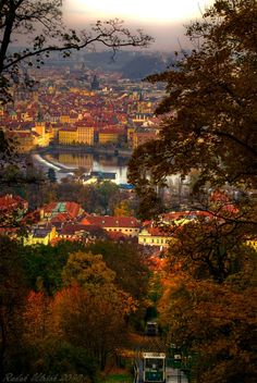 A view from Petřín park in Prague, Czech Republic