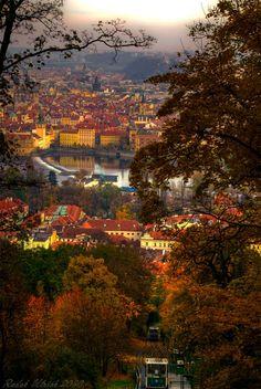 A view from Petřín park in Prague, Czech Republic