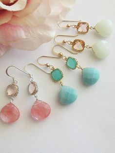 SET OF 3 Wedding Jewelry Bridesmaid Earrings  Peach Pink by AnnTig, $80.85