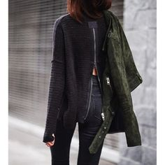 Sweater: tumblr grey long sleeves open back backless backless jacket suede jacket green jacket jeans