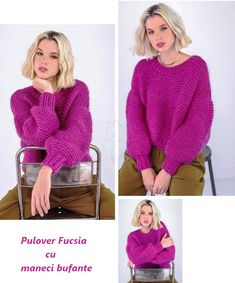 Fuchsia sweater with puffed sleeves Circular Knitting Needles, Knitwear Fashion, Mohair Sweater, Winter Sweaters, Crochet Clothes, Knit Crochet, Couture, Pullover, Clothes For Women