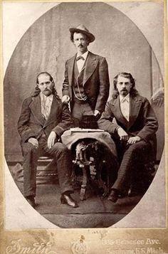 Wild Bill Hickok (left), Texas Jack Omhundro (center), Buffalo Bill Cody (right)