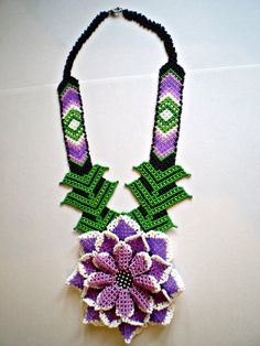 Items similar to Huichol style Necklace Jewelry Native American style Large Necklace Necklace Beadwork Jewelry Mexican Beaded indian jewelry on Etsy Bead Loom Patterns, Peyote Patterns, Mexican Jewelry, Indian Jewelry, Purple Colour Shades, Red Color, Crochet Necklace, Beaded Necklace, Native American Fashion
