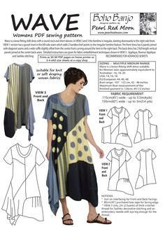 Original lagenlook style dress designed by Pearl Red Moon. Wave can be interpreted by the sewist in so many ways.it can be made all in one colour or with various panels picked out in solid colours or prints. The instructions include step by step tutori Pdf Sewing Patterns, Clothing Patterns, Dress Patterns, Plus Size Patterns, Sewing Clothes, Diy Clothes, Clothes For Women, Dress Sewing, Style Clothes