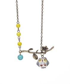 Look what I found on #zulily! ZAD Gray & Silvertone Owl & Branch Necklace by ZAD #zulilyfinds