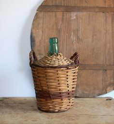 Vintage Demijohn Wine Jug with Wicker Covering and Side Handles - Medium Size