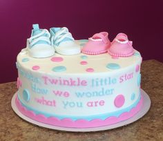 Baby Boy Baby Girl Shoes Gender Reveal Cake