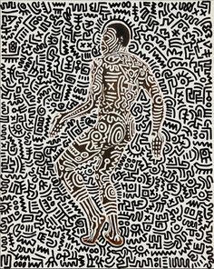 """Keith Haring (1958–1990), Untitled (Bill T. Jones), 1984. ink on photographic paper, 19 9/10 × 15 7/10 inches """""""