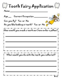 Kindergarten writing - Tooth fairy application...dental health month