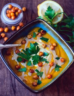 Carrot Soup with Tahini and Roasted Chickpeas