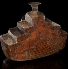 Inka terraced vessel  AD 1425–1532  Lima, Peru Clay,  paint 31 x 18 x 26 cm  Purchased from Alan Lapiner