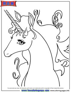 Print Pretty Cartoon Unicorn Drawing Coloring Pages