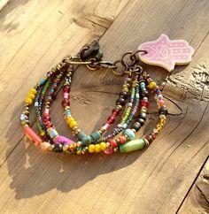 Gypsy Rainbow Bracelet by beadsnbones on Etsy