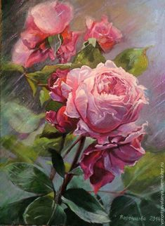 """Расцвела"" – shop online on Livemaster with shipping - Oil Painting Flowers, Watercolor Flowers, Watercolor Paintings, Art Floral, Rose Art, Flower Pictures, Flower Wallpaper, Botanical Art, Animal Paintings"