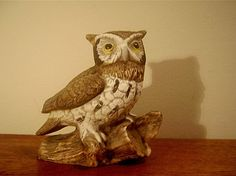 "Vintage Homco Owl on Branch Figurine, 5.25"" tall, #1114"