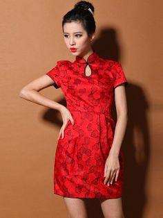 Red Custom Tailored Short Silk Qipao / Cheongsam Dress