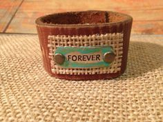 Leather cuff bracelet, handmade from recycled belt, brown leather, metal forever embellishment, burlap