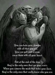 I shape my demons. I embrace the darkness when I'm alone. My demons don't help me anymore. They're too afraid of me. Inner Demons, My Demons, Dark Quotes, Me Quotes, Devil Quotes, 2pac Quotes, Beast Quotes, Small Quotes, Dark Thoughts