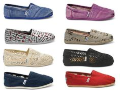 TOMS shoes. Some less than $20! I'm gonna love this site!